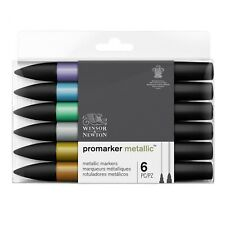 Winsor & Newton Promarker Metallic Twin-Tip Markers 6 Colour Set
