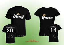 """Couple Custom T-Shirt """"Together Since King & Queen T-Shirts Love Put the Dates"""