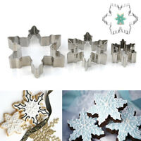 3PCS Xmas Fondant Biscuit Cookies Snowflake Mould Cake Decorate Cutter Mold Tool
