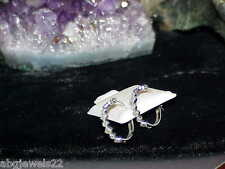 "14K .05ct Diamond SNOWFLAKE Cluster Hoop Earrings White Gold New w/Tag $600 1/2"""