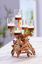 Design Kerzenständer Kerzenhalter Teelichthalter Treibholz Naturholz Glas Holz