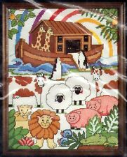 """Two by Two Counted Cross Stitch Kit Noahs Ark Animal 11"""" x14"""" 1984 Charmin #54-9"""