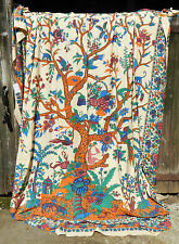 """Cotton Tree of Life Bedspread / Throw / Wall Hanging - Double Size 82"""" x 96"""""""