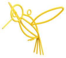 YELLOW HUMMINGBIRD Wrought Iron Garden Hanger Amish Handmade Lawn Wall Decor USA