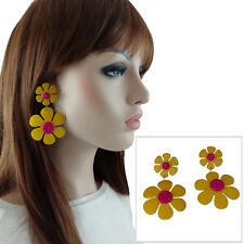 """Vintage 1980s Large Yellow Pink Flower Dangle Clip On Earrings 3 1/4"""""""