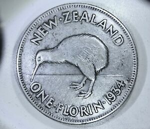 NEW ZEALAND: 1934 1 Florin ——> SILVER COIN WITH KIWI BIRD, ICON OF NEW ZEALAND