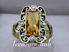 C991 ORNATE 9ct,9K Solid Gold NATURAL Large Citrine & Pearl Ring made in yr size