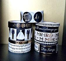10 Pc. Wedding, Bride Groom, I Do, Roses, Mr. & Mrs. Crafting Washi Tapes