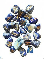 LAPIS LAZULI RUNE STONES CRYSTAL SET DIVINATION ORACLE GEMSTONE PAGAN NEW AGE