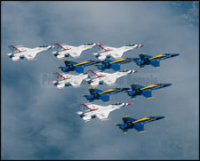 USAF F-16 Thunderbirds & USN Blue Angels Over New York 8x10 Photos