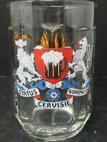 Vintage Sahm Germany Status Cervisie Clear Glass Beer Mug Stein 0.5 Liter