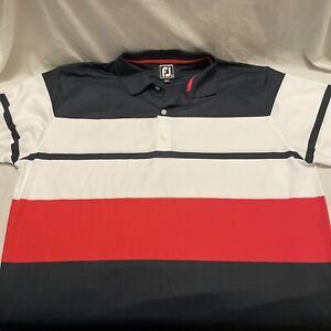 FootJoy FJ Men's Red White And Blue Striped short sleeve golf polo shirt 2XL XXL