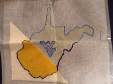 Partially completed WVU West Virginia University Needlepoint canvas vintage