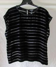 Eileen Fisher Ballet Neck Cap Sleeve Top-Velvet Burnout- Black-Size PL- NWT $228