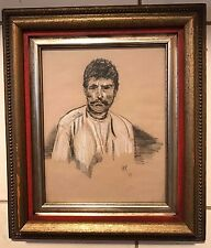 STRIKING SIGNED JKR  '67  PASTEL PORTRAIT MAN WITH MUSTACHE