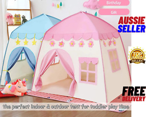 Kids Teepee Play Tent Princess Castle Blue Children House Outdoor Indoor PINK-AU