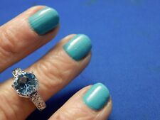 2.75ct Round Faceted Aquamarine Sterling Silver Filigree Ring Free Sizing