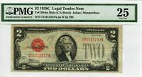 1928-C $2 Legal Tender Note Bill Fr 1504m Mule PMG VF 25 Certified Currency 3010