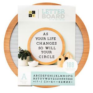 "American Crafts DCWV 15"" x 15"" Circular Letter Board - White, 188 Characters"