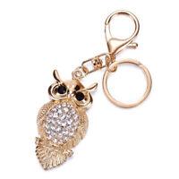 Cute Owl Tassel Key Ring Car Bag Mini Charm Keychain Crystal Animal Women Gir.QA