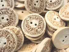 FC1181- 25mm 3pcs REAL GENUIN NATURAL COCONUT SHELL WOOD BUTTONS -MADE IN ITALY