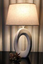 Lampe weiß braun Nachttischlampe Leuchte Keramik Tischlampe Tischleuchte sonoma