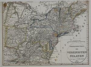 USA 1824 NORTH AMERICA MAP ORIGINAL ANTIQUE STEEL ENGRAVING STIELERS ATLAS