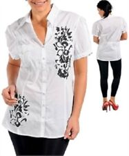 Cotton Button-Down Blouse Tops for Women