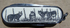 Swiss Knife Barlow Scrimshaw Carved Painted Art Wolf Wolves Scissors File 506519