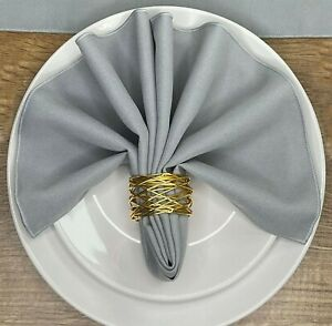 Pack of 4 - Fabric Material Napkins serviettes 100% polyester machine washable