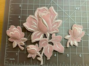 """4"""" Pink Rose Embroidered Applique set - 3 pieces unused"""
