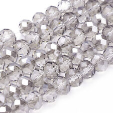 10strands Electroplate Glass Beads Half Pearl Luster Faceted Rondelle LightGrey