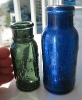 2 Colors Bromo Seltzer Medicine Bottles Mid Sized Teal Green & Large Cobalt Blue
