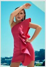 Abbey Clancy Lipsy One Shoulder Hot Pink Ruffle Scuba Dress Size 16 Brand New...