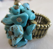Ring Adjustable Stretch Brass Turquoise Gemstone Dangle Beads Cluster NWT #9
