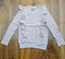 Little Joule girls beige striped jumper with frill details Size 6 yrs. Brand new