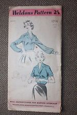 Weldons Sewing Pattern Misses Long and Short Sleeved Blouse Size Bust 34