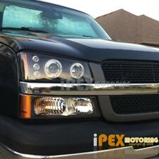 Brightest Halo Projector LED Headlights Black+Bumper Light For Chevy Silverado