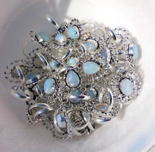 Wholesale Lot !! 50Pcs. Flashy White OPALITE 925 Sterling Silver Ring Jewelry