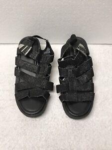 Justice Girls Black Glitter Platform Sandals Size 6