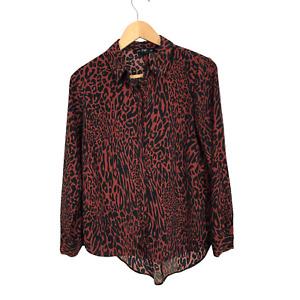 F&F Size 10 Burgundy & Black Animal Print Long Sleeve Asymmetrical Hi-Low Blouse