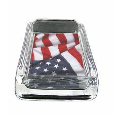 "American Flag D13 Glass Square Ashtray 4"" x 3"" Smoking Cigarette"