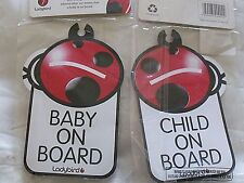 LADYBIRD REVERSIBLE BABY / CHILD ON BOARD SAFETY CAR WINDOW SIGN WITH SUCKER x 2