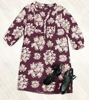ladies Laura Ashley Tunic Top Blouse Purple Burgundy Size 10 Occasion