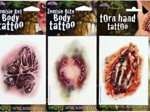 Zombie Body Tattoos Goary Halloween Special FX Fancy Dress Make Up