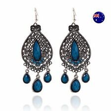 Women Vintage Retro Boho Blue Bohemian Party Ethic Earrings Ear Hook Drop Dangle