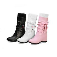 Women's Mid Calf Boots Wedge Heels Ladies College Synthetic Leather Casual Shoes