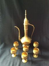 "Vintage brass ""genie"" teapot Turkish pitcher w/6 mini goblets"