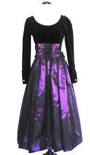Vtg Laura Ashley Formal Dress Black/Purple Velvet/Satin Belted Size 36(US S)