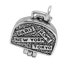 Suitcase Charm Sterling Silver .925 OPENS to Clothes Luggage Travel